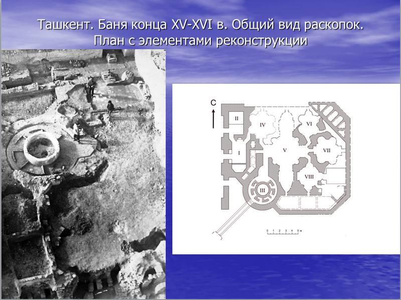 Ташкент. Баня конца XV начало XVI вв. Общий вид раскопок. План с элементами реконструкции