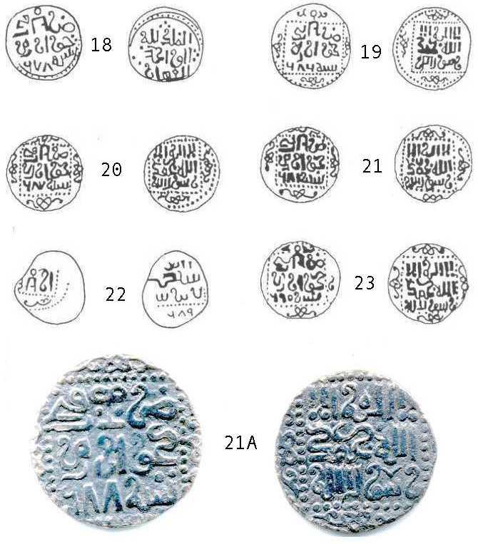 Рис.47. Рисованные изображения анонимных дирхемов Хорезма 678-690 гг.х.